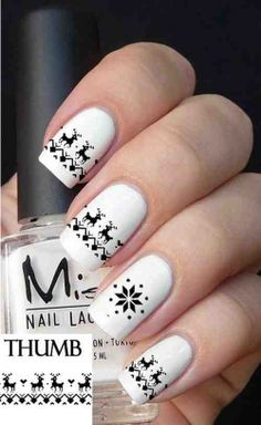 Cute Reindeer Winter Black n White nail art