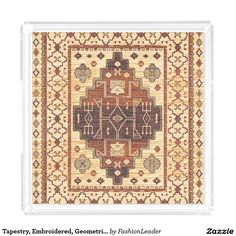 Tapestry, Embroidered, Geometric, Moroccan Print Serving Tray