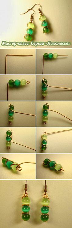 "Серьги ""Лихолесье"" из медной проволоки / WireWrapped Copper Earrings Tutorial #wirewrap #diy #jewelry"