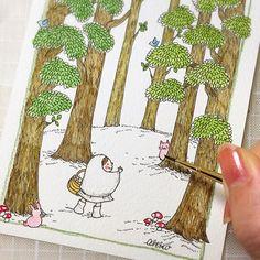 【akkobaum】さんのInstagramをピンしています。 《#illustration #illustrator #drawing  #watercolor  #watercolour  #水彩画 #水彩絵の具  #baum #malerei #イラスト  #絵 #ペン#木 #tiny #森 #ねこ #cat #木 #tree #art #artwork #鳥 #bird #きのこ》