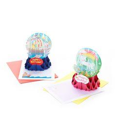 Kids Birthday Pop-Up Snow Globe Card Set