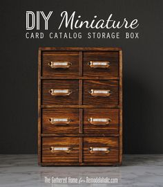 DIY Miniature Card Catalog Storage Box | The Gathered Home for Remodelaholic.com #tutorial #vintage #12days72ideas