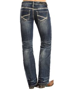 Rock and Roll Cowgirl Women's Riding Boot Cut Jeans - Medium Vintage