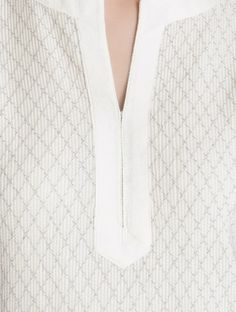 Cream Pintuck Detailed Katan Silk Kurta