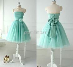 Wholesale Ff8080813b981846013b981b1749029f - Buy Short Lovely Mint Tulle Bridesmaid Dresses For Teens Young Girls 2013 Chic Flower Bow Sash Lace Up Strapless Bridal Party Beach Wear Gowns, $97.99 | DHgate