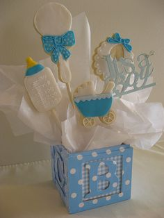 baby boy cookie bouquet by Tasteful Cakes, via Flickr Galletas Cookies, Cupcake Cookies, Cupcakes, Sugar Cookies, Baby Boy Cookies, Baby Shower Cookies, Cookie Bouquet, Candy Bouquet, Cake Pop Decorating