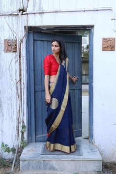 Blue chanderi saree with zari border by Raw mango