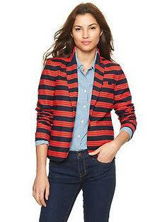 Stripe academy blazer.  This Gap Blazer should be a staple in every wardrobe.  Inexpensive & with a cut that flatters everyone.