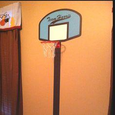Little boys room decor idea! A 3D basketball goal- made from vinyl wallcovering plus a real goal!