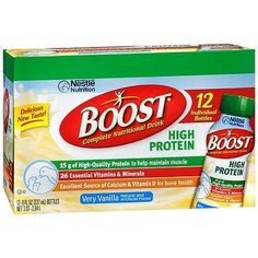 Boost High Protein Complete Nutritional Drink Very Vanilla, 8 oz Bottles, 12 pk - 8 oz.