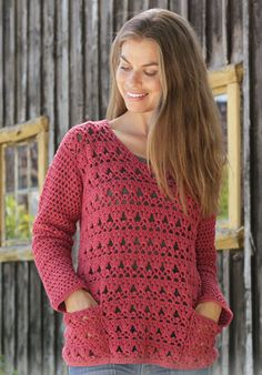 Free Crochet Pattern for a Lace Sweater with Pockets. Skill Level: Intermediate Crochet sweater pattern worked with lace pattern, fans and pockets. Free Pattern More Patterns Like This! Poncho Au Crochet, Pull Crochet, Crochet Jacket, Crochet Cardigan, Crochet Stitches, Free Crochet, Knit Crochet, Crochet Sweaters, Crochet Pullover Pattern