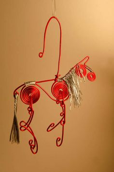 red wire horse ornament