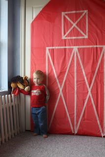 Use red plastic tablecloth for backdrop