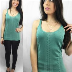 """Boutique Quality Soft Sage Knit Tank MADE IN USA - these knit tops are INCREDIBLE. SO SOFT and so absolutely flattering on. I am keeping one of these because it's perfect for spring and summer. Made of 100% viscose, won't shrink. Hand wash cold water, lay flat to dry. Limited quantities so get them now. Price is firm unless bundled. This is a beautiful and delicate knit tank top. Apprx 26"""" long. S(2-4) M(6-8) L(10-12) Model is 5'2"""" 115 lbs and wearing S. * previous customer discount does…"""