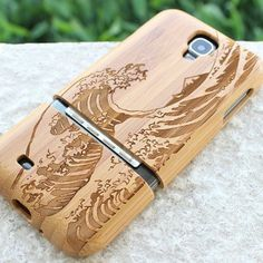 Wave Bamboo wood samsung galaxy s4 case wooden by bestwallet008, $24.69