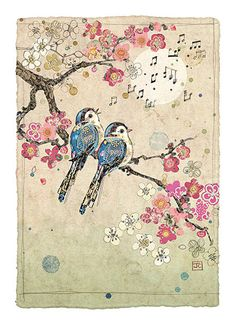 Blue Song Birds by Jane Crowther. Design for Bug Art greeting cards.