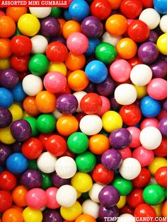 Amazing assorted mini gumballs from Temptation Candy. Perfect for colorful candy buffets. Sold in 2 pound increments, approx. 240 mini gumballs per lb. #Gumballs
