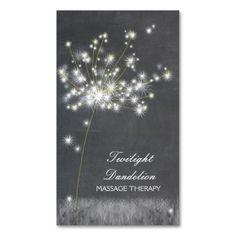 Grayscale Dandelion Massage Therapy Business Cards.   Would like to use this dandelion for redoing my cards