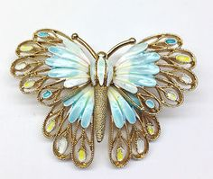 Vintage Vendome Enamel Butterfly Brooch