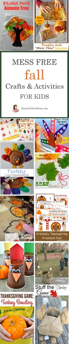 Mess Free Fall Holiday Crafts for Kids - Mom Life Made Easy