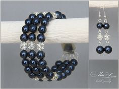 Bridesmaid Jewelry Bracelet and Earrings Night by MiaLuciaBridal