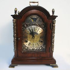 The charming touch plus a wonderful chime of the bell!! Vintage Warmink / Wuba Bracket Mantel Shelf Clock Mahogany Moonphase Dutch