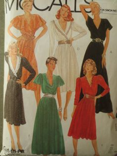 Vintage McCall's 8236 Sewing Pattern, 1980s Dress Pattern, Disco, Flutter Sleeves Dress, V Neck, Lapped Bodice, Bust 31.5 - 34, Shawl Collar