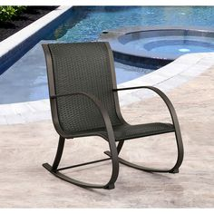 Abbyson Gabriela Black Wicker Outdoor Rocking Chair (Black), Size Single, Patio Furniture (Iron)
