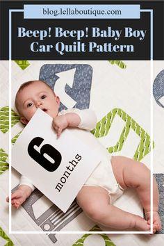 Beep! Beep! Baby boy car quilt by Lella Boutique. Made using a beginner level, raw edge applique method. Raw Edge Applique, Quilting Projects, Quilt Patterns, Baby Boy, Quilts, Boys, Fabric, Baby Boys, Tejido