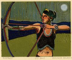 Linocut: Huntress (