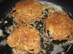 Deep Fried Spaghetti...topped with chili, it's awesome!