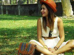 Bik Bok Dress, Hallhuber Hat, Vintage Bag