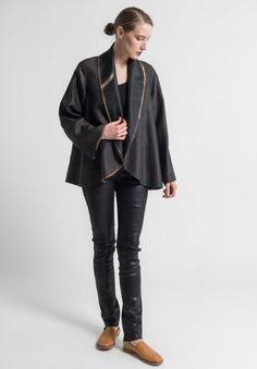 Sophie Hong Hand Dyed Silk Shawl Collar Jacket in Black/Green