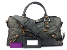 Balenciaga Giant Part Time Anthracite Colour Goat Skin With Rose Gold Good Condition Ref.code-(KYOU-4)