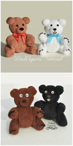 You will love to learn how to make a washcloth teddy bear and it makes the perfect baby shower gift. Be sure to watch the video tutorial too. Diy Teddy Bear, Teddy Bear Baby Shower, Baby Shower Niño, Baby Shower Gifts, Creative Gift Baskets, Towel Origami, Towel Animals, Baby Washcloth, Towel Crafts