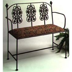 Grace Rosegarden Wrought Iron Loveseat, 40in, Blueberry Fabric, Jade Patina Finish