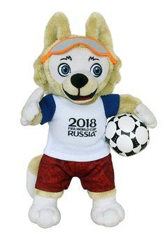 Pl/üsch Kissen rot mit Maskottchen Zabivaka 30x30cm FIFA Weltmeisterschaft 2018