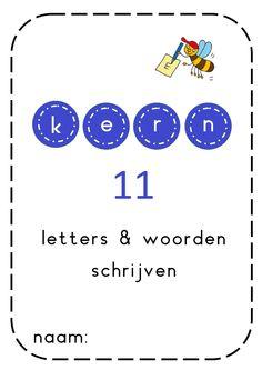 Kern 11: vragen, prachtig en appelmoes / In kern 11 wordt verder geoefend met woorden waarvan de eerste lettergreep een open lettergreep is, maar nu beginnen de woorden met een cluster: vragen, spelen, schotel, sturen. Ook komen tweelettergrepige woorden voor die eindigen op 'lijk', 'tig, of 'ing', zoals moeilijk, prachtig, koning. En er wordt een begin gemaakt met eenvoudige drielettergrepige woorden zoals appelmoes, vuilnisbak en blokkendoos. Het thema van kern 11 is 'mijn lievelingsboek'. Speech Language Therapy, Speech And Language, Speech Therapy, Nice Handwriting, Preschool Printables, E 10, Love My Job, Writing Skills, Kids Education