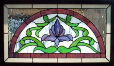 Victorian Flower Arch is a stained glass transom window designed and built by Dean's Stained Glass with a classic arch transom style. Dean's Stained Glass custom builds stained glass transoms, windows and other stained glass art. Stained Glass Flowers, Faux Stained Glass, Stained Glass Designs, Stained Glass Panels, Stained Glass Projects, Stained Glass Patterns, Leadlight Windows, Leaded Glass Windows, Art Nouveau