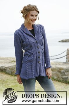 Women - Free knitting patterns and crochet patterns by DROPS Design Knitted Coat Pattern, Sweater Knitting Patterns, Knitting Stitches, Knit Patterns, Free Knitting, Handgestrickte Pullover, Drops Design, Bluebirds, Hand Knitted Sweaters
