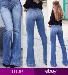 b825775742f Women Skinny Flare Denim Jeans Retro Bell Bottom Stretch Pants Trousers US  4-14