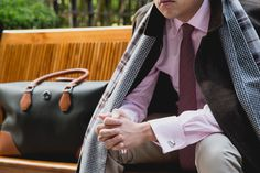 #Wingtip #LoroPiana #StormSystem Reversible Overcoat ($1550), pictured with #MargoPetitti Scarf, Margo Petitti Tie, #Dunhill Peter Solid Plain Weave Business Shirt, Dunhill #Cufflinks, and Dunhill Chassis Holdall. #bag #menswear #fw15 #aw15 #patterns http://wingtip.com/product/wingtip/loro-piana-storm-system-reversible-overcoat/42554?utm_source=Pinterest&utm_medium=photo&utm_term=Layers&utm_content=Layers&utm_campaign=FallLayers
