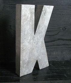 Vintage Industrial Zinc Metal Letter K by VintageHomeShop on Etsy, $23.00