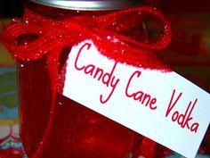 Candy Cane Vodka What you need:1 cup of broken candy canesMason jar filled with vodka Directions:Put the candy canes in the mason jar for at least two days. That's it…..seriously…..how easy is that? green apple jolly ranchers
