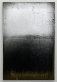 'Afterburner (after Rothko) silver, black, gold', 2012 Cement, spraypaint, and paint on canvas, 100 x 150 cm Foto: Gert Jan van Rooij