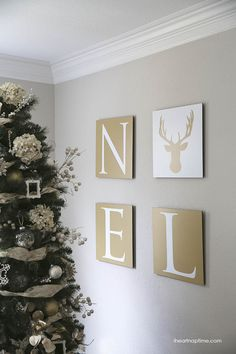Noel art (with free printable designs) on iheartnaptime.com #shutterflydecor