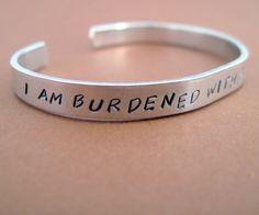 Avengers Loki Inspired Bracelet - I Am Burdened with Glorious Purpose - Hand Stamped Aluminum Cuff - customizable. $12.50, via Etsy.