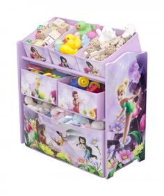 Disney - Tinker Bell Fairies Multi-Bin Toy Organizer Bottom tier is a toy box for storage 5 fabric storage bins are great for storing small accessories Disney Toy Box Dimensions: x x Small Bins Dimensions: x x Medium Bins Dimensions: x x Toy Storage Solutions, Diy Toy Storage, Fabric Storage Bins, Hades Disney, Tinkerbell Toys, Disney Fairies, Toy Bins, Toy Organization, Delta Children
