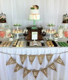Wedding Dessert Table instead of one huge cake. I want a cake that's big enough for everyone to have a piece but I want more dessert than just cake. Candy Table, Candy Buffet, Lolly Buffet, Wedding Sweets, Wedding Cakes, Buffet Wedding, Cupcake Wedding, Bridal Table, Dessert Bars