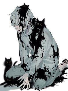 Dark Art Illustrations, Illustration Art, Anime Demon Boy, Gato Anime, Image Manga, Cute Anime Boy, Anime Sketch, Anime Artwork, Boy Art